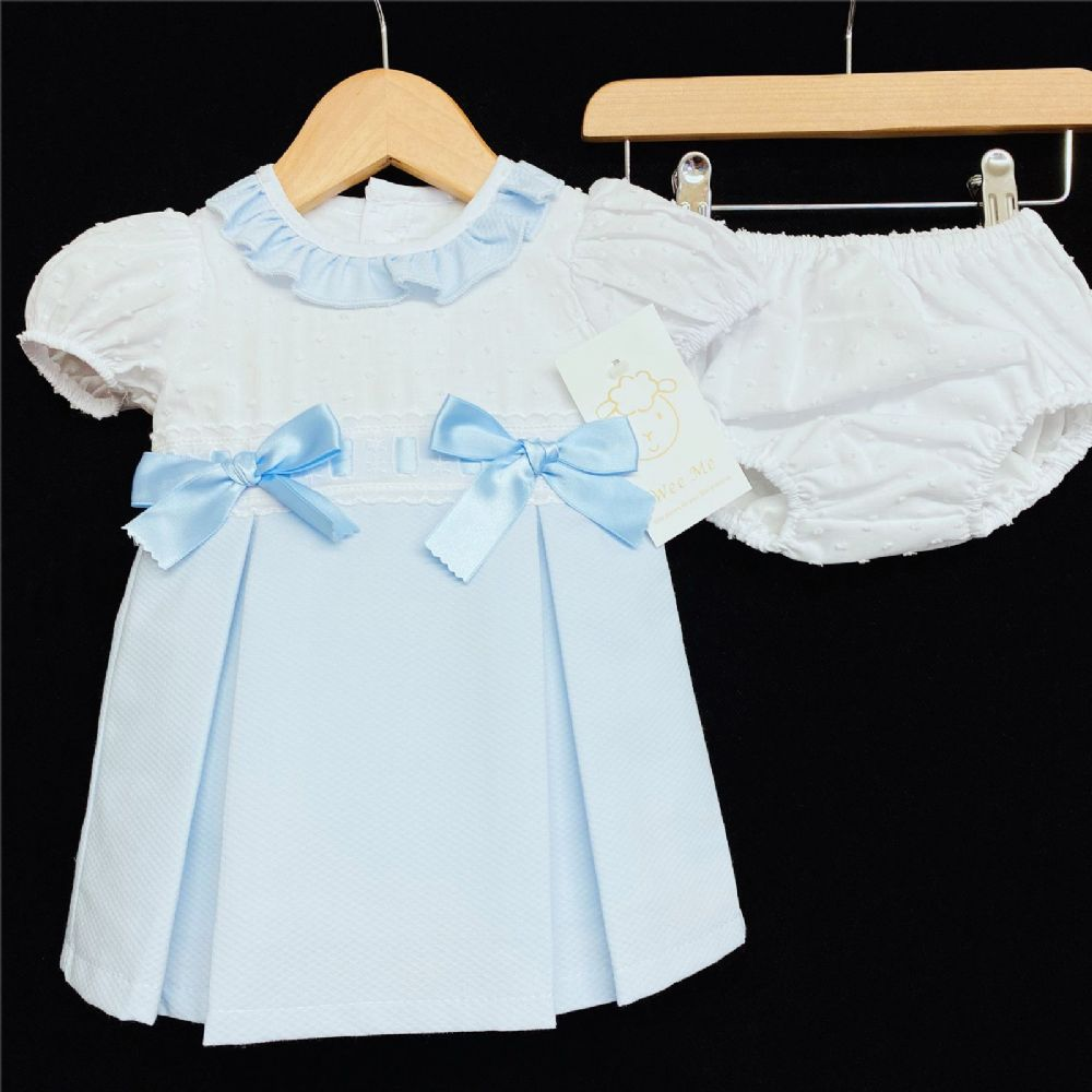 * Baby Girl Spanish Blue Waffle Princess Dress Pants Set